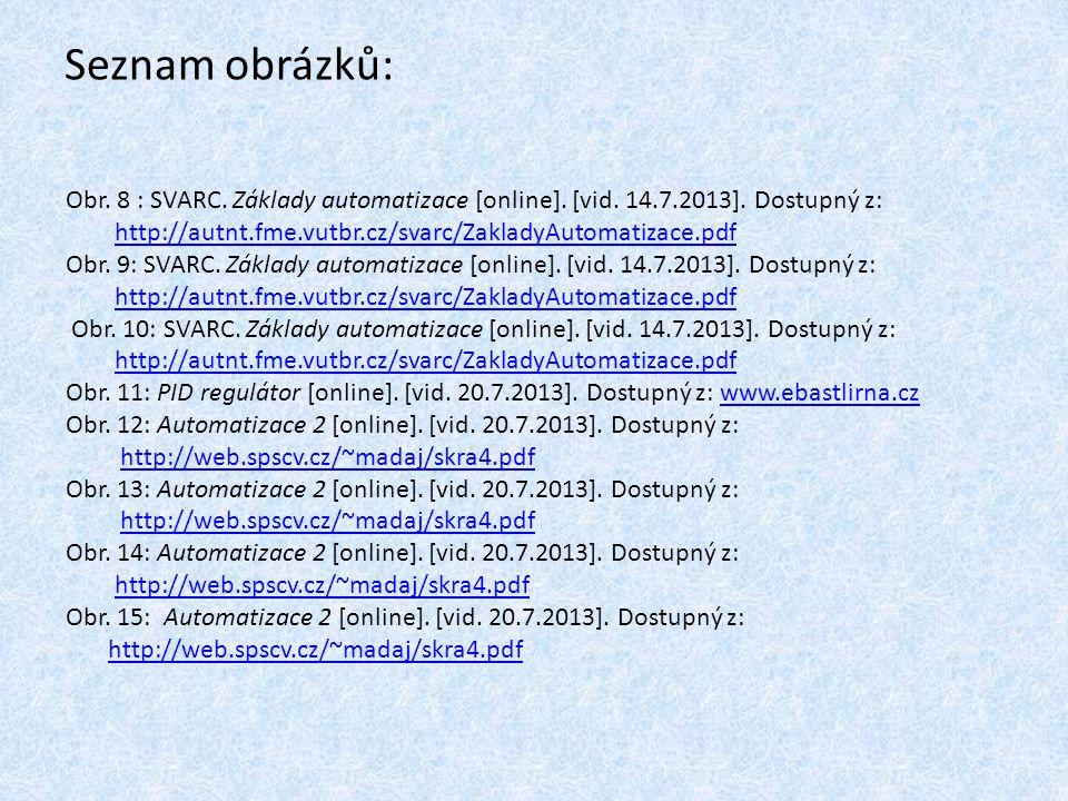 Seznam obrázků: Obr. 8 : SVARC. Základy automatizace [online]. [vid. 14.7.2013]. Dostupný z: http://autnt.fme.vutbr.cz/svarc/ZakladyAutomatizace.pdf.